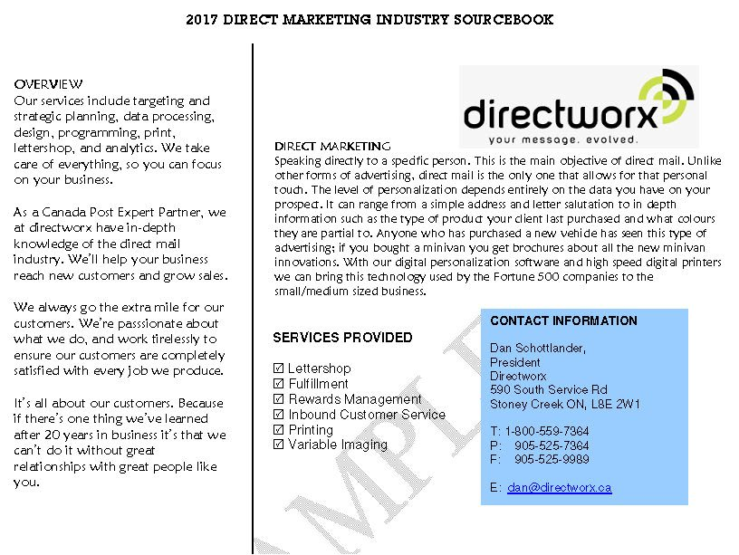 DM Industry Sourcebook 2017 Directory Sample Listing half page